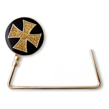 Bag Hanger - Enamel w/ Glittery Cross - Black - BH-GB454B