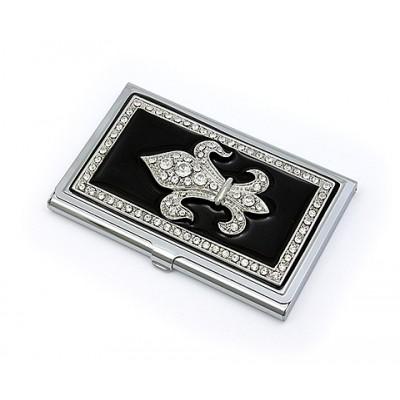Business card cases business card holder rhinestone fleur de lis black colourmoves Image collections