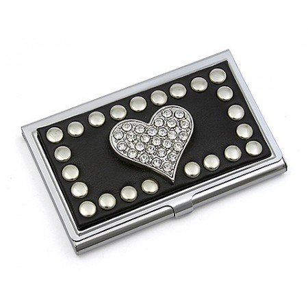 Business Card Holder - Studded Heart - Black