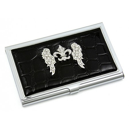 Business Card Holder - Croc Embossed Leather Like w/ Rhinestone Fleur De Lis & Angel Wings - Black