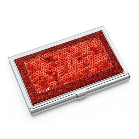 Business Card Holder - Sequined - Red