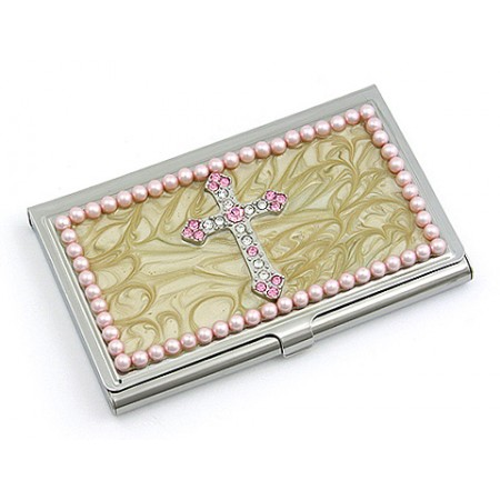 Business Card Holder - Enamel Accented w/ Pearl - Pink