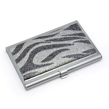Business Card Holder - Glitter Zebra Print - Silver