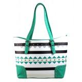 Aztec Print Tote Bags - Green - BG-TRO4975BGN