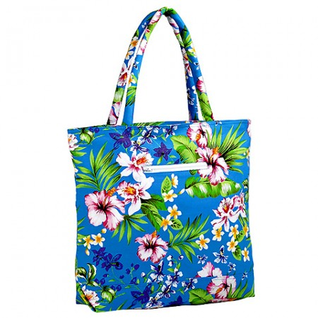 Canvas Tote w/ Tropical Flower Print - Turquoise