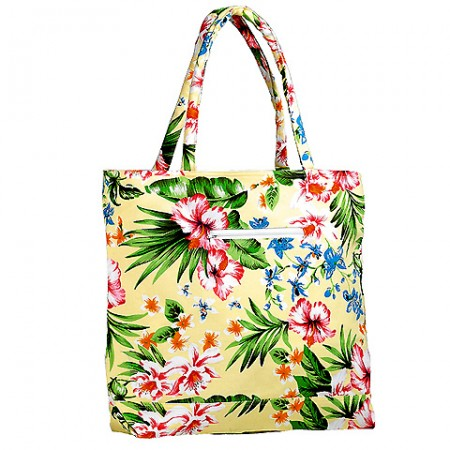 Canvas Tote w/ Tropical Flower Print - Yellow