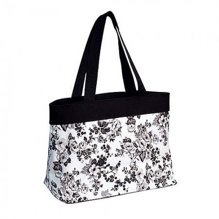 Canvas Shopping Tote w/ Flower Print - Black