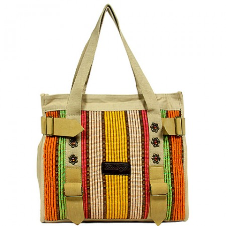 Canvas Tote Bag w/ Suede-Like Belt