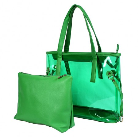 Clear PVC 2-in-1 Totes w/ Leather-like PU Trim - Green
