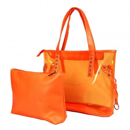 Clear PVC 2-in-1 Totes w/ Leather-like PU Trim - Orange