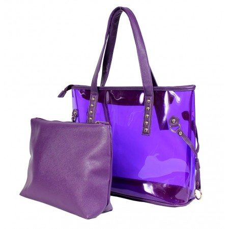 Clear PVC 2-in-1 Totes w/ Leather-like PU Trim - Purple