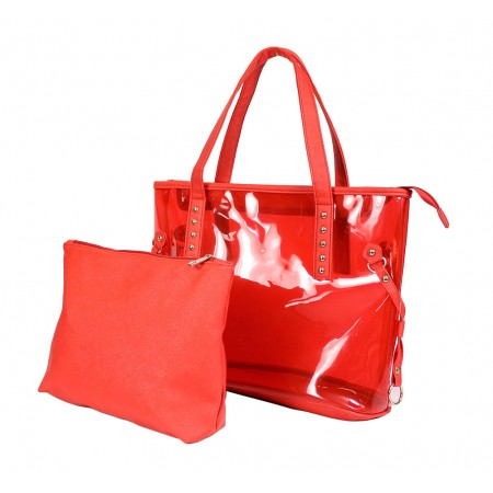 Clear PVC 2-in-1 Totes w/ Leather-like PU Trim - Red
