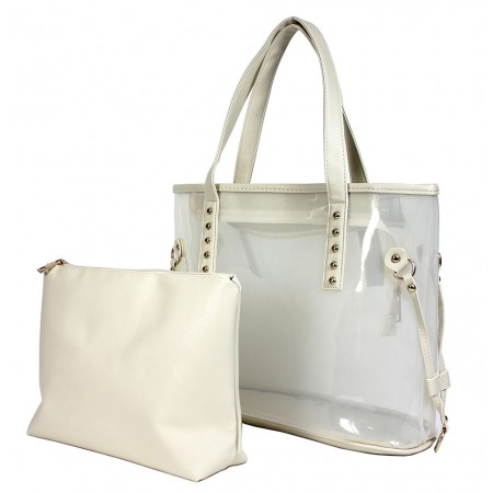 Clear PVC 2-in-1 Totes w/ Leather-like PU Trim - White (Clear)