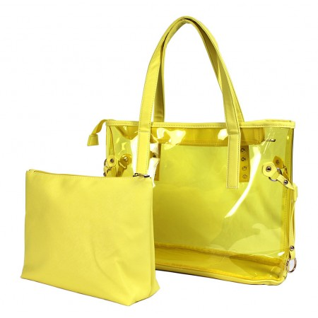 Clear PVC 2-in-1 Totes w/ Leather-like PU Trim - Yellow