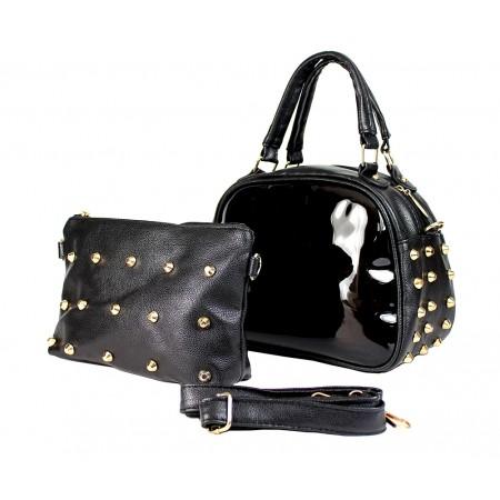 Clear PVC 2-in-1 Satchel w/ Metal Studded Leather-like PU Trim - Black