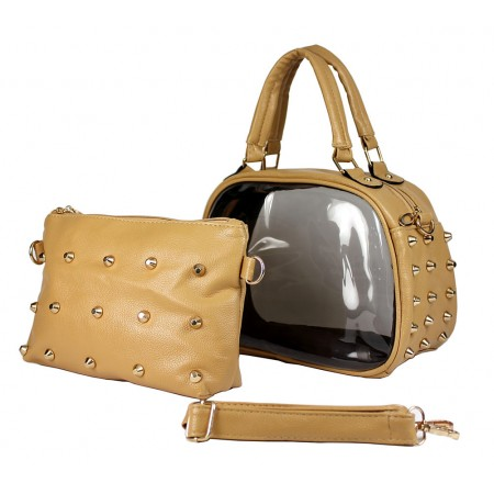 Clear PVC 2-in-1 Satchel w/ Metal Studded Leather-like PU Trim - Beige