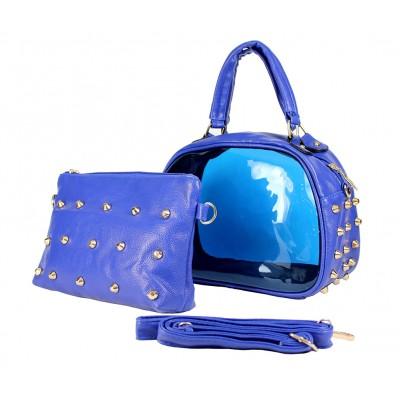Clear PVC 2-in-1 Satchel w/ Metal Studded Leather-like PU Trim - Blue