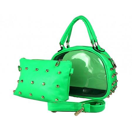 Clear PVC 2-in-1 Satchel w/ Metal Studded Leather-like PU Trim - Green