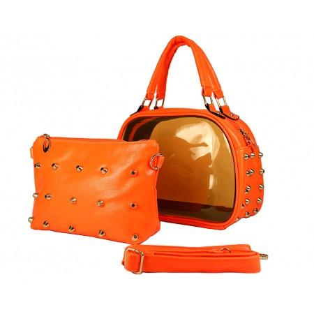 Clear PVC 2-in-1 Satchel w/ Metal Studded Leather-like PU Trim - Orange