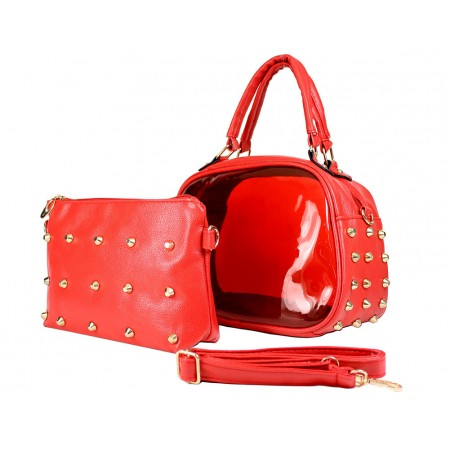 Clear PVC 2-in-1 Satchel w/ Metal Studded Leather-like PU Trim - Red