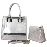 2-in-1 Clear PVC Tote Bag w/ Croc Embossed Trim - White