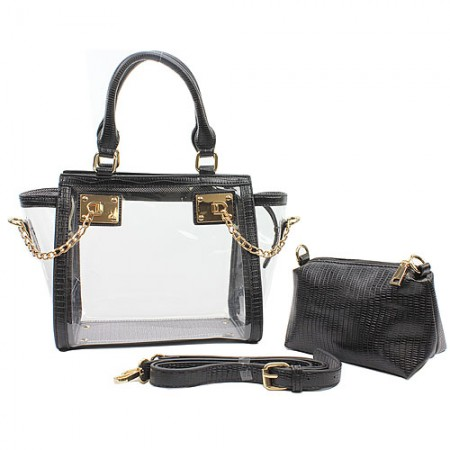 2-in-1 Clear PVC Tote Bag w/ Croc Embossed Trim - Black