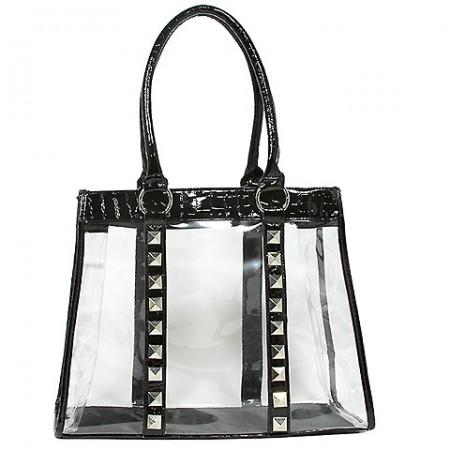 Clear PVC Tote Bag - Croc Embossed Patent Leather-like Trim w/ Pyramid Studs - Black - BG-CLR003BK