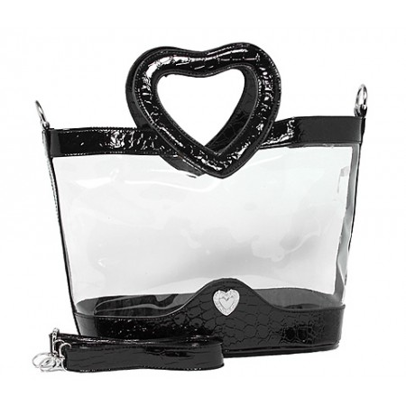 Clear PVC Satchel - Croc Embossed Patent Leather-like Trim w/ Open Heart Shape Handles - Black - BG-CLR004BK
