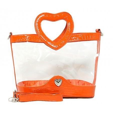 Clear PVC Satchel - Croc Embossed Patent Leather-like Trim w/ Open Heart Shape Handles - Orange  - BG-CLR004OG