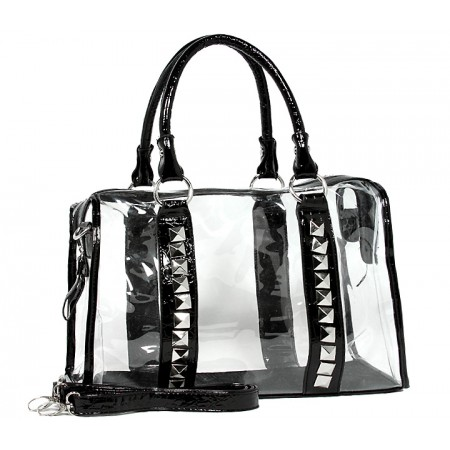 Clear PVC Duffel - Croc Embossed Patent Leather-like Trim w/ Pyramid Studs - Black - BG-CLR005BK