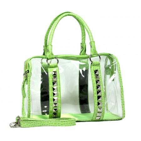 Clear PVC Duffel - Croc Embossed Patent Leather-like Trim w/ Pyramid Studs - Green - BG-CLR005GN