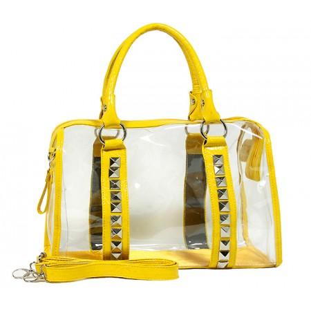 Clear PVC Duffel - Croc Embossed Patent Leather-like Trim w/ Pyramid Studs - Mustard - BG-CLR005MUS