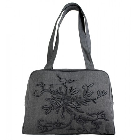 Embroidered Flower Pint - Tote Bag - BG-D2C