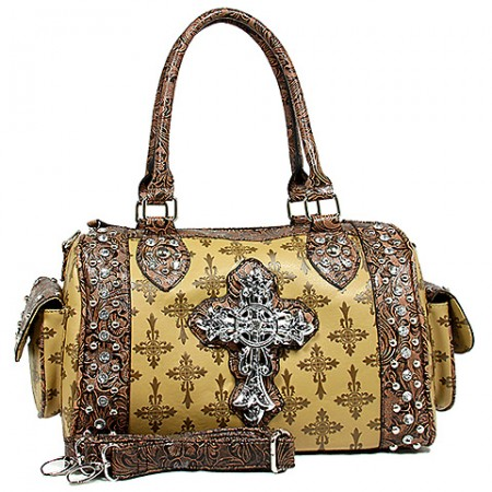 Cross Charm Duffel Bags: Monogram w/ Cross Charm - Tan - BG-JO1033CM-TN