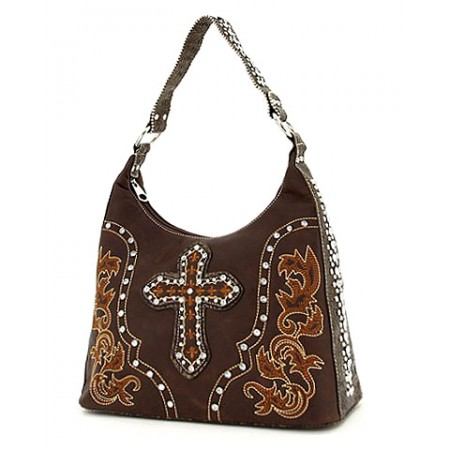 Cross Charm Hobo - Coffee - BG-WC1231CF