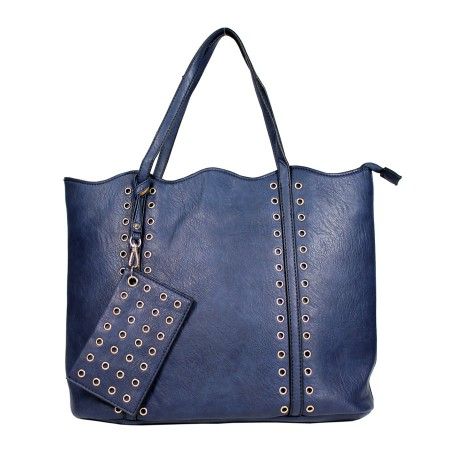 Leather-Like Tote Bag w/ Free Detachable Pouch - Blue