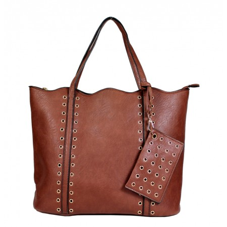 Leather-Like Tote Bag w/ Free Detachable Pouch - Brown
