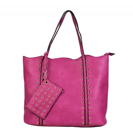 Leather-Like Tote Bag w/ Free Detachable Pouch - Fuchsia