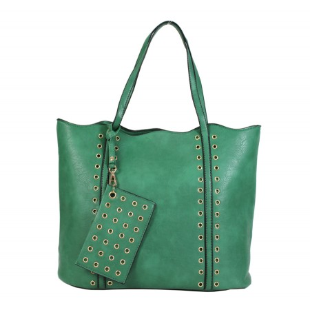 Leather-Like Tote Bag w/ Free Detachable Pouch - Green