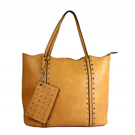 Leather-Like Tote Bag w/ Free Detachable Pouch - Mustard