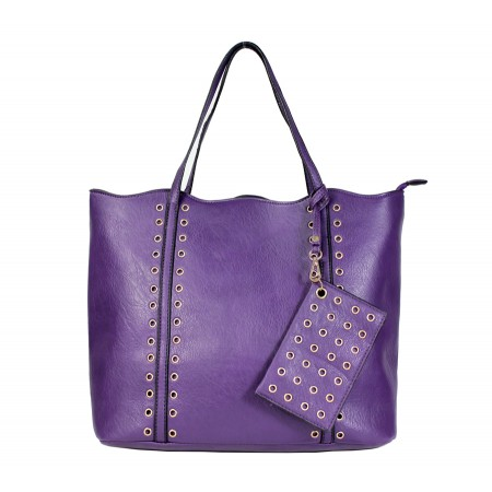 Leather-Like Tote Bag w/ Free Detachable Pouch - Purple