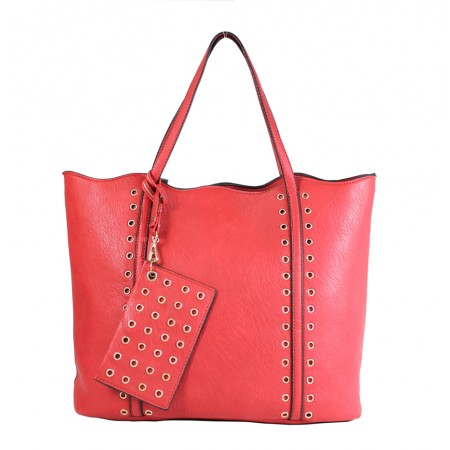 Leather-Like Tote Bag w/ Free Detachable Pouch - Red