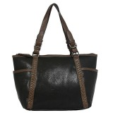 Tote Bag - 2-Side Pockets Leather-like Tote w/ Whipped & Buckled Straps - Black