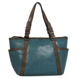Tote Bag - 2-Side Pockets Leather-like Tote w/ Whipped & Buckled Straps - Blue