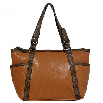 Tote Bag - 2-Side Pockets Leather-like Tote w/ Whipped & Buckled Straps - Brown