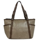 Tote Bag - 2-Side Pockets Leather-like Tote w/ Whipped & Buckled Straps - Gray