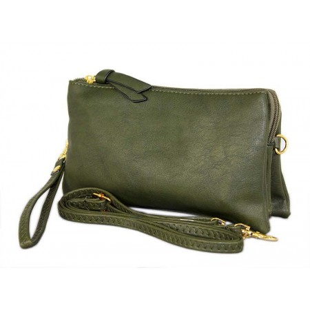 Clutch Small Shoulder Bag - Multi Function Bag W/Credit Card Slots - Green -BG-SF695GN