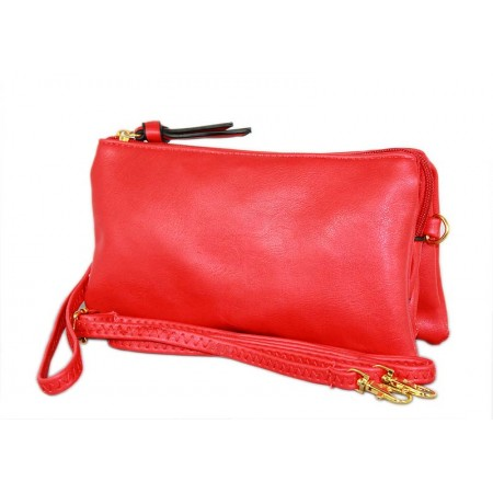 Clutch Small Shoulder Bag - Multi Function Bag W/Credit Card Slots - Red - BG-SF695RD