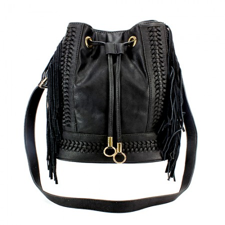Drawstring Bucket Bags w/ Genuine Leather Fringes On Sides - Black