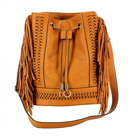 Drawstring Bucket Bags w/ Genuine Leather Fringes On Sides - Tan